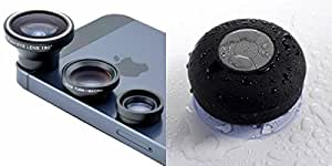 Mobile Lens & Bluetooth Shower Speaker for LENOVO a1900(Mobile Lens, 3 in 1 Fish eye, Wide Angle & Macro Lens & Shower Speaker || Bluetooth Speaker ||Multimedia Speaker ||Water Resistant || With Mic )