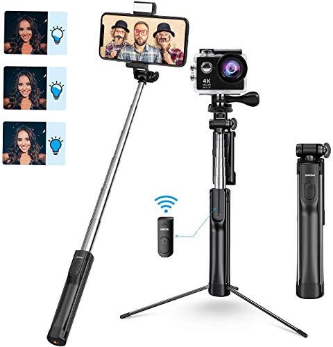mpow bastone selfie, all in 1 led & 360 ° estensibile selfie stick treppiede con bluetooth e luce di riempimento, compatibile per iphone 11/xs max/xr/x/ 8/7, galaxy s10/ s9/s8, gopro/fotocamera