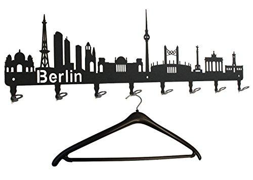 Garderobe Berlin Skyline - Wandgarderobe, Hakenleiste, Garderobenleiste, Garderobenhalter, Kleiderhaken, Flurgarderobe - Metall 80 cm, schwarz, Garderobenhaken