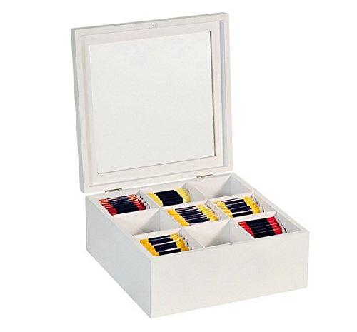 Weiße Teebox mit Sichtfester aus Holz 8 Fächr Fächer