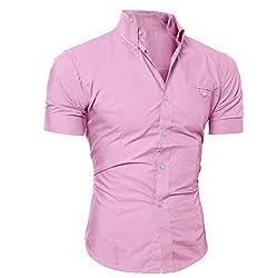 Yowablo Bluse Herren Kurzarm Hemden Prom Hochzeit Button Down O Neck Pullover T-Shirt Top (XXL,Rosa)