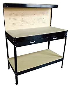 FoxHunter New Black Steel Garage Tool Box Toolbox Work Bench Workbench Storage With Drawers Pegboard and 12 Pegs Shelf DIY Workshop Station