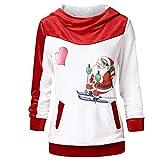 VEMOW Heißer Elegante Damen Frauen Frohe Weihnachten Weihnachtsmann Print Skew Kragen Casual Daily Party Freizeit Sweatshirt Bluse(Y2-Weiß, EU-34/CN-M)