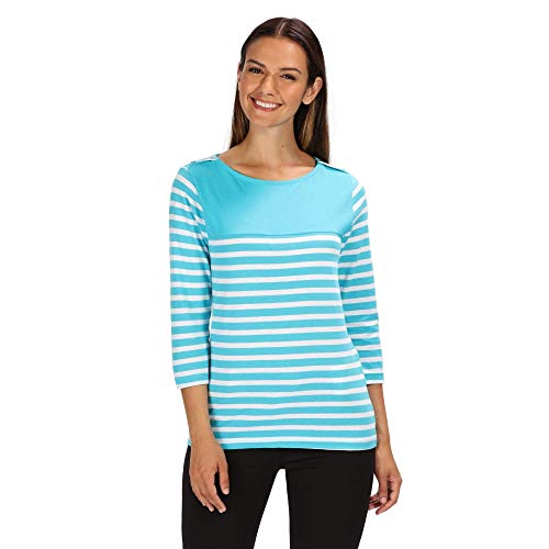 Regatta Damen Pandara Coolweave Cotton Jersey Top, Azure Blue Stripe, 18 - Azure Blue Stripe