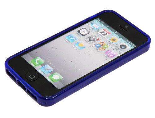 Neues Modell - Silikon Hülle Schutzhülle Rückschale Diamant-Case Cover für Apple iPhone 5 / 5G - Grün Diamant - Dunkelblau