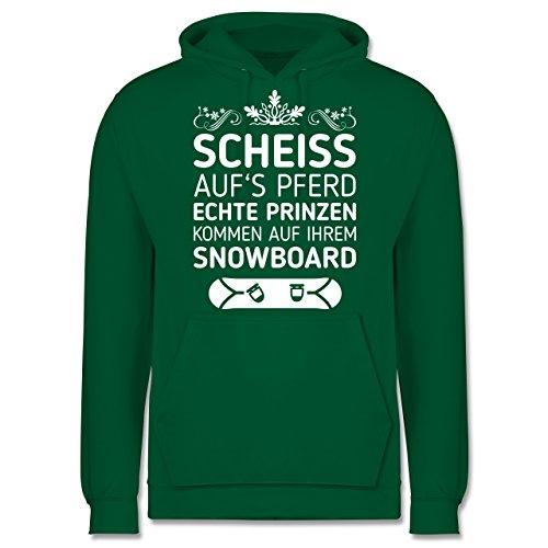Wintersport - Scheiß aufs Pferd echte Prinzen kommen auf ihrem Snowboard - Herren Hoodie Grün