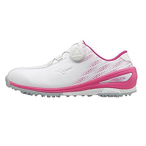 Mizuno 2018 NEXLITE 004 BOA Chaussures de Golf Imperméables pour Femmes - White/Pink 4.5UK