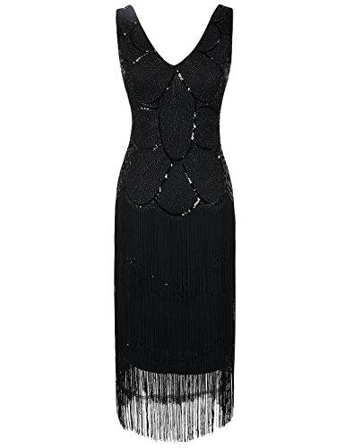 PrettyGuide Donne Abito Da Flapper Art Deco Paillettes Frange 1920s Vestito Gatsby Nero