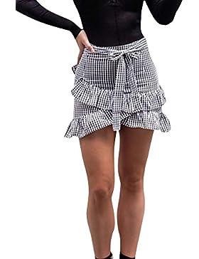 Mujeres Faldas Con Volantes Cintura Alto Mini Bodycon Lápiz Falda