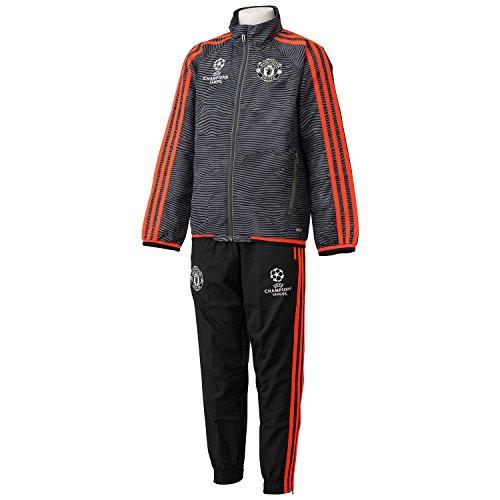 adidas Jungen Manchester United UCL Präsentations/Trainings-Anzug, Black/Ash/Solred, 128, AC1976