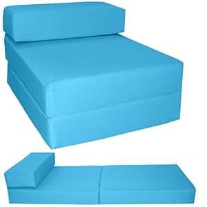 Gilda ® lit d'invité AQUA FRESCO chaise chauffeuse déplier lit d'appoint matelas pliable fauteuil lit Eau & Tissu résistant aux taches