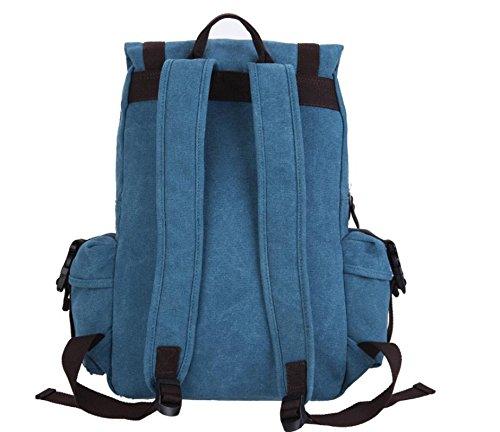&ZHOU Borsa di tela, Donne e uomini d'affari casual zaino zaino zainetto spalla computer borsa da viaggio , army grey Blue