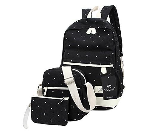 YAAGLE Canvas Backpack Fashion School Student Bag Shoulder Bag Backpack Rucksack for Boys and Girls,3 pcs