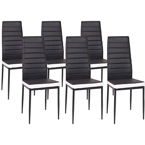 IDMarket - Lot de 6 chaises Romane Noires Bandeau Blanc pour Salle à Mang