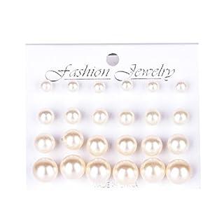 12 Paare Glänzend Runde Perlen Ohrringe Legierung Ohrstecker Set (Weiß)