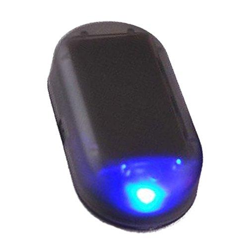 Myhonour Auto Alarmanlage Diebstahlsicherung Attrappe Flash LED Licht Solar Power Anti-Diebstahl Warnleuchten (Blau)
