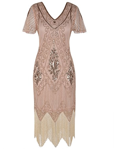 PrettyGuide Damen 1920er Charleston Kleid Pailetten Cocktail Flapper Kleid Mit Ärmel,  Medium, Rosé gold (Rose Kleid)