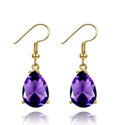 Orecchini a goccia con pietra preziosa color oro, ametista, granato, peridoto, zaffiro, orecchini da donna in argento Sterling 925, metallo, Purple, taglia unica