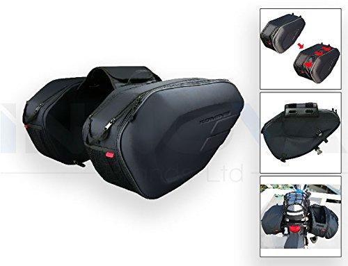 Innova geformte Satteltasche für Motorräder und Fahrräder, 36-58 l, für Essen und Getränke, Reise-Halterung