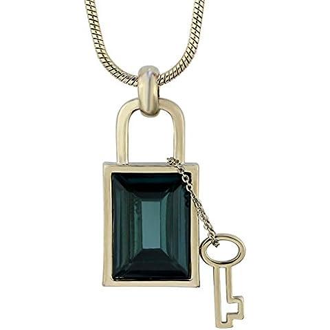 ZWX Lock and key collana decorata temperamento elegante/ maglia a catena lunga/ autunno/inverno ornamento collana/ con gioielli-A