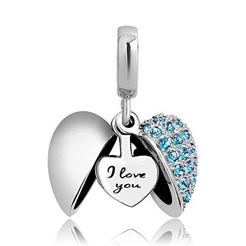Sug jasmin, charm per braccialetto, a forma di cuore, aperto, con scritta in lingua inglese