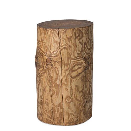 GREENHAUS Natürlich wohnen Baumstamm Säule Fichte, in Handarbeit gefertigt, Nussbaum geölt, natürlicher Beistelltisch, rustikaler Hocker (20-25 cm)