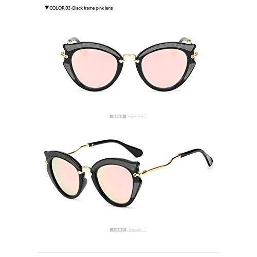 Taiyangcheng Metall Cat Eye Sonnenbrillen Frames Frauen Twist Curve Leg Spectacles Triangle,schwarz pink