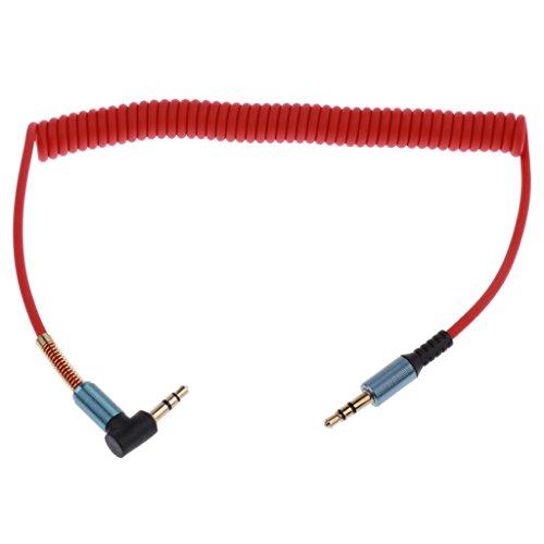 Sharplace 90 Grad Rechtwinklige 3.5mm Male zu Male Anschluss Audio Klinken Spiral Kabel - Farben Auswählen - Rot Coiled Audio