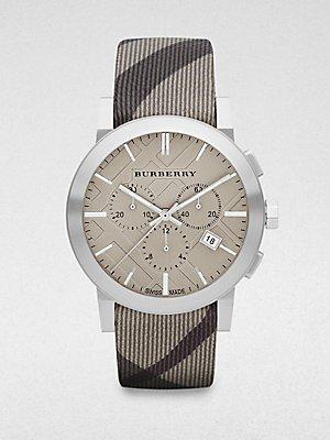 Burberry Orologio cronografo da uomo, colore: grigio a quadri, tessuto BU9358 Strap 42 mm