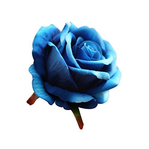 siconght 5Köpfe Künstliche Latex Touch Blumenstrauß Rose Blumen für Hochzeit Party Zuhause DIY Geschenk Decor blau