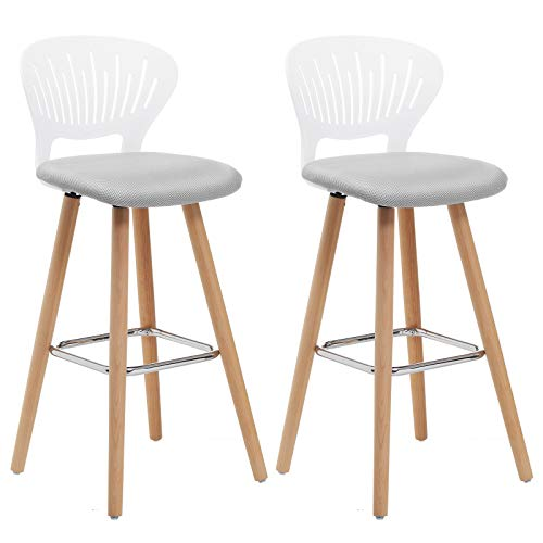 SONGMICS 2 x Barhocker, Barstuhl Hocker Tresenhocker mit kronenförmiger Lehne Stuhl Küchenstuhl, Beine aus Buchenholz, bequem gepolsterter Sitz, weiß+grau LJB24WT