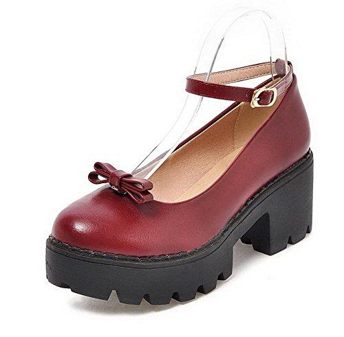 AgooLar Femme Boucle à Talon Correct Pu Cuir Couleur Unie Rond Chaussures Légeres Rouge Vineux