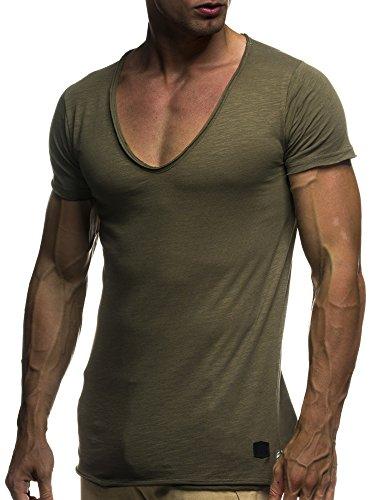 LEIF NELSON Herren oversize T-Shirt tiefer V-Ausschnitt Shirt Basic LN6280; Grš§e M, Khaki