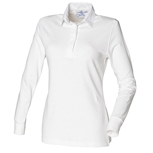 Front Row Polo à manches longues style rugby pour femme Couleur unie Blanc - White/white