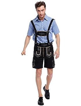 WTUS Lederhose Herren kurz | Trachten Lederhose kurz aus edlem Leder perfekt für Oktoberfest oder Karneval Bierbekleidung