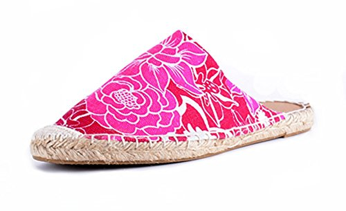 Happy lilyl Unisex Slip-on Sandali pantofole abitazioni umidità Wicking Flax suola in gomma Mules Indoor o scarpa per Outdoor F ¨ ¹ r adulti fiori