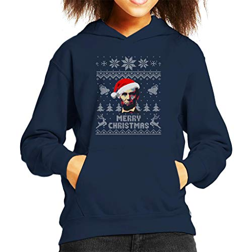 Cloud City 7 Merry Christmas Abe Lincoln Knit Pattern Kid's Hooded Sweatshirt