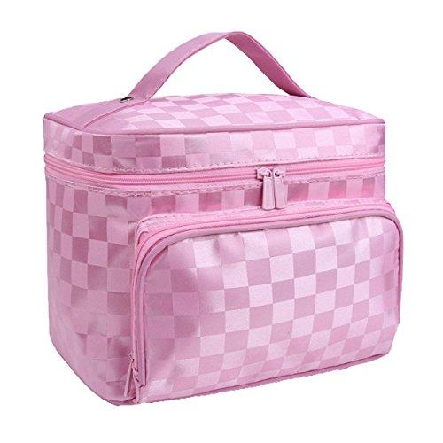 ADEMI Sacs Cosmétiques De Grande Taille Avec Fermeture à Glissière De Qualité Sac à Une Couche Sacs De Maquillage,Pink-S