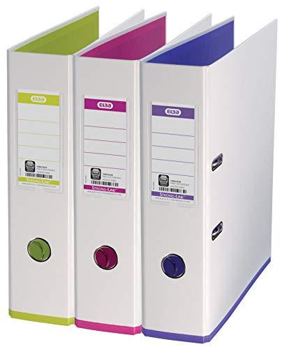 ELBA Ordner myColour 3er Pack 8 cm breit DIN A4 zweifarbig weiß sortiert weiß/violett weiß/pink und weiß/hellgrün