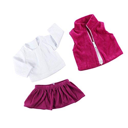 MagiDeal 3 Pcs Puppen T-Shirt, Mantel / Top , Rock Kleidung Set für 18 Zoll Amerikanische Mädchen Puppe - # A (Prinzessin Baby-puppe T-shirt)