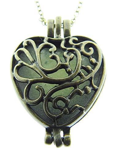 Lovelegis Kette für Frauen - Herzkette - Damen Halskette - Herz - Herzchen - Glow In The Dark - Geöffnet Werden kann, Im Dunkeln nachleuchtend - Im Dunkeln leuchten - Phosphoreszierend - Bronze