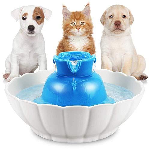 Keramik-Trinkbrunnen für Katzen und kleine Hunde, Trinkbrunnen für Haustiere Automatischer Frischwasserspender für Haustiere, super leise hygienische Katzennapf Live-Frühlings-Trinker -