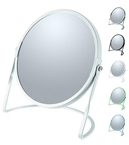 Spirella Schminkspiegel Kosmetikspiegel Badezimmerspiegel 'Akira' 5-Fach Vergrößerung - matt Weiß