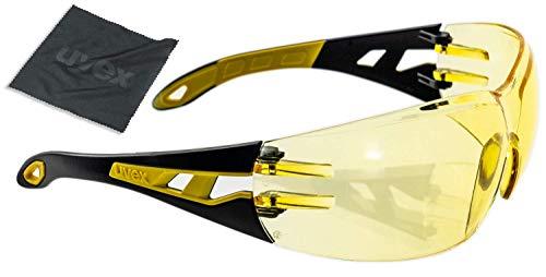 Lunettes de Protection uvex Pheos | Oculaire PC Ambre | Certifiées NF en 166 170 | Lentilles Antibuée | Résistantes aux Rayures - Produits Chimiques | Protection anti-UV400 | Légeres