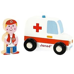 Janod - J08567 - Story Set Pompiers Ambulance et Docteur Bois