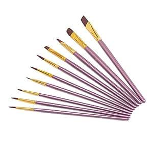 Febbya Pinceau de Peinture,Sets de Pinceaux of 10 Pinceau de Gouache pour Aquarelle Huile Acrylique Artisanat Rochers Dessin pour Bricolage Adolescents Enfants Nylon Pourpre
