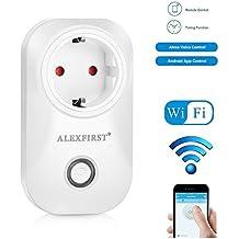 ALEXFIRST Wlan Steckdose Intelligente Smart Plug mit Fernsteuerung inkl Zeitsteuerung Energiesparfunktion Funktioniert mit Amazon Alexa [Echo, Echo Dot] mit App Steuerung überall und zu jeder Zeit