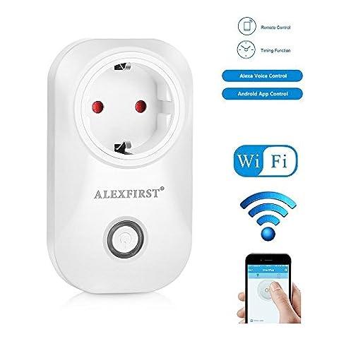 Alex First WiFi Prise programmateur intelligente Smart Plug avec télécommande avec fonction économie d'énergie Fonctionne avec Amazon Alexa [Echo, Echo Dot] avec App Contrôle partout et à tout moment