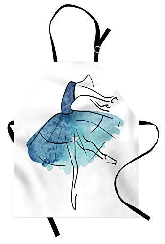 ABAKUHAUS Ballett Kochschürze, Ballerina Tänzerin Figur Aquarell Tutu in blauen Farbtönen Klassische Kunst, Farbfest Höhenverstellbar Waschbar Klarer Digitaldruck, Dunkelblau Seafoam Schwarz