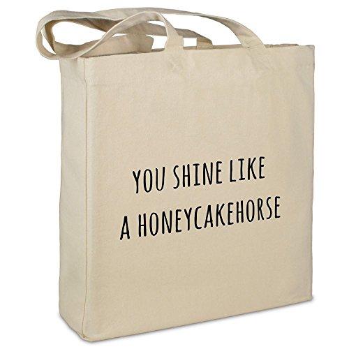 """Stofftasche mit Spruch \""""You shine like a honeycakehorse\"""" - Farbe beige - Stoffbeutel, Jutebeutel, Einkaufstasche, Beutel"""